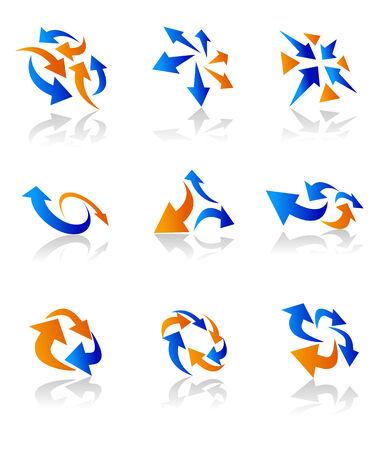 intentie: Set van pijl iconen voor webdesign op wit wordt geïsoleerd