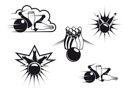 Bowling symbols set isolated on white for sports design photo