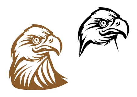 cartoon eagle: Cartoon eagle symbol isolated on white for tattoo or another design