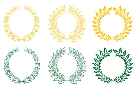 laurel leaf: Set of gold and green laurel wreaths Illustration