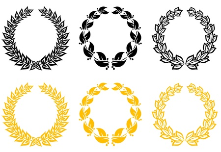 Set of gold and black laurel wreaths Vector