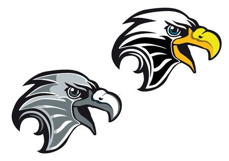 eagle head: Cartoon eagle symbol isolated on white for tattoo or another design