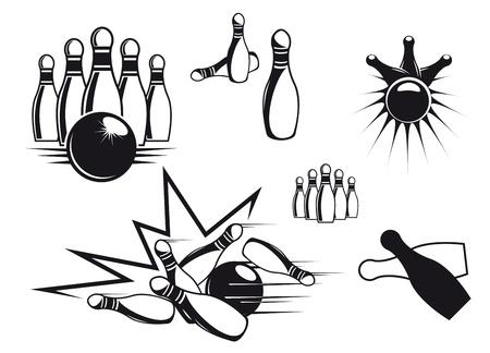 kegelen: Bowlen symbolen instellen op geïsoleerde wit voor sport design Stock Illustratie