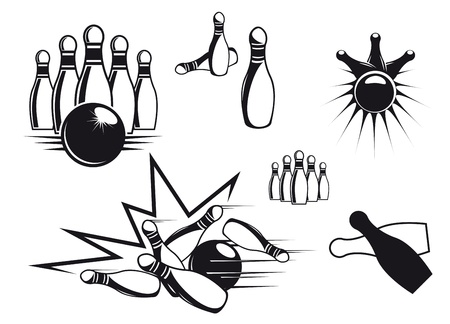 strike: Bowling symbols set isolated on white for sports design Illustration