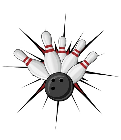 strike: Bowling symbol isolated on white for sports design Illustration