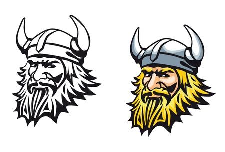 cartoon warrior: Antico guerriero vichingo arrabbiato come mascotte o tatuaggio