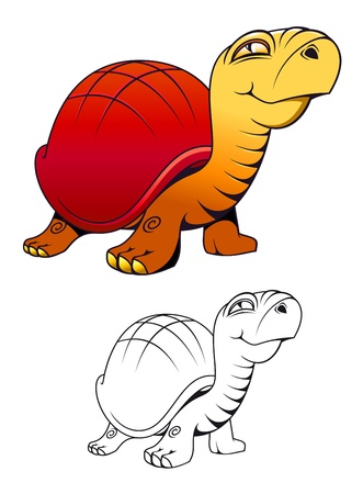 Funny cartoon turtle for mascot or tattoo isolated on white Stock Vector - 9295551