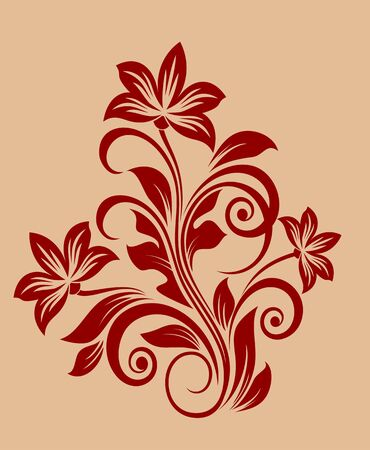 flower tattoo: Flower decoration for design and ornate isolated on background Illustration