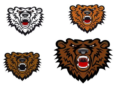 cruel zoo: Wild bear as a mascot or tattoo isolated on white Illustration