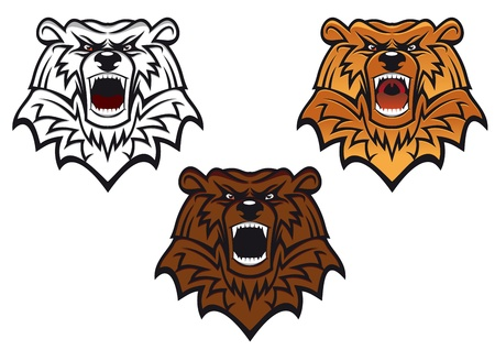 Wild bear as a mascot or tattoo isolated on white Stock Vector - 9295553