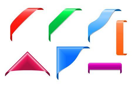 Corner ribbons set isolated on white for design Stock Vector - 9295548