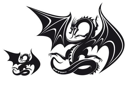 tatouage art: Dragon noir isol� fantasy pour la conception de tatouage Illustration