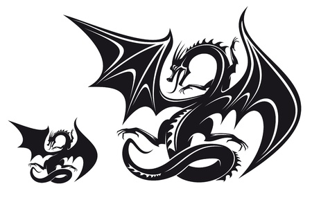 Isolated fantasy black dragon for tattoo design Stock Vector - 9295541