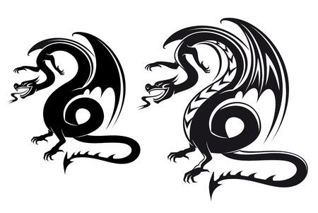 totem: Dragon noir isol� fantasy pour la conception de tatouage Illustration
