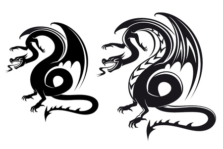 Isolated fantasy black dragon for tattoo design Vector
