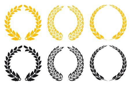 laurel leaf: Set of gold and black laurel wreaths