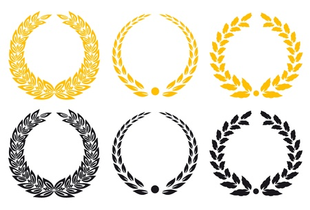 certificate icon: Set of gold and black laurel wreaths