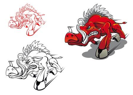 sanglier: Sanglier cours sauvage comme un tatouage ou la mascotte Illustration