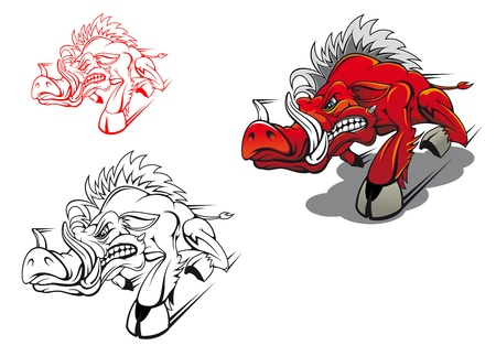Wild running boar as a tattoo or mascot Vector