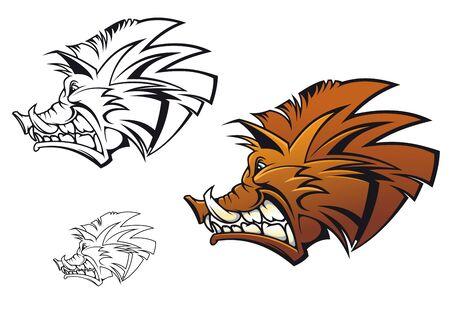 cerdo caricatura: Jabalí en estilo de dibujos animados como un tatuaje o mascota
