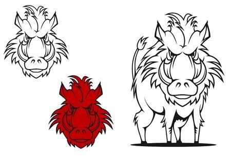 bristle: Wild boar in cartoon style as a tattoo or mascot