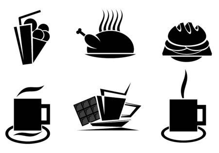 comida americana: S�mbolos de comida r�pida para dise�o aislados en blanco