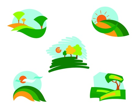 Isolated nature icons for design and decoration