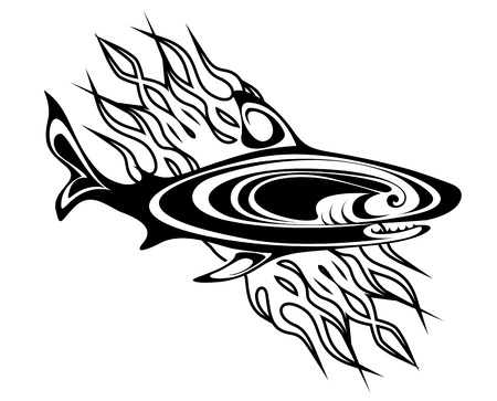 dead fish: Shart tattoo in tribal style for design