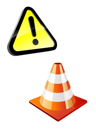 traffic barricade: Warning sign and traffic cone isolated on white