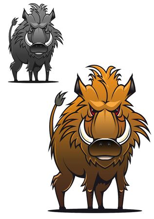 Wild boar in cartoon style as a tattoo or mascot Vector