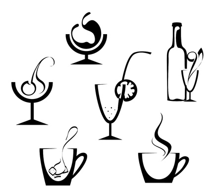 champagne glasses: Drinks and beverages icons isolated on white