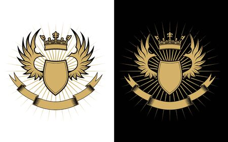Heraldry elements with wings and ribbons for design Vector