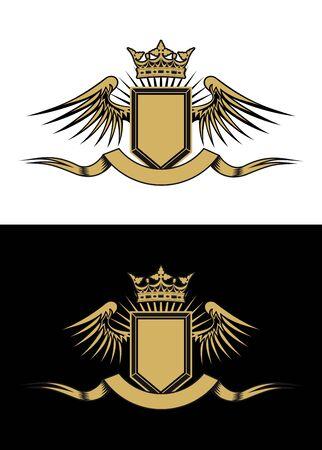 Heraldik Elemente mit Flügeln und Bändern für design