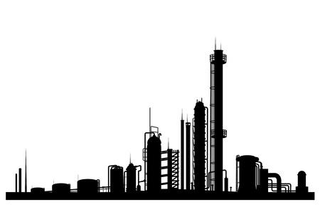symbole chimique: Usine industrielle isol� sur fond blanc pour la conception Illustration