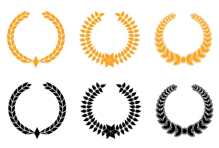wheat isolated: Set of gold and black laurel wreaths