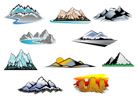 neve montagne: Set di simboli di montagna per il maestoso design Vettoriali