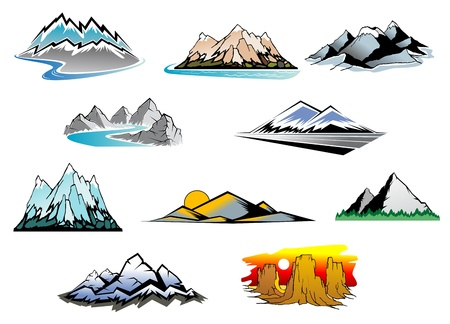 snowcapped landscape: Set of mountain symbols for majestic design Illustration