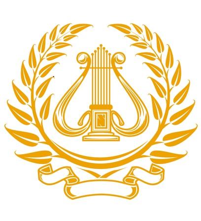 Símbolo de arpa en Corona de laurel aislado en blanco