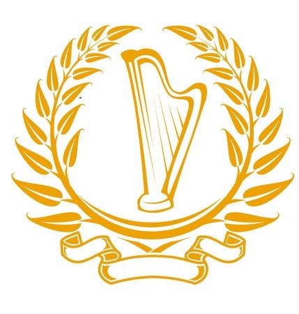 harfe: Harfe-Symbol im Lorbeerkranz, isoliert auf weiss Illustration