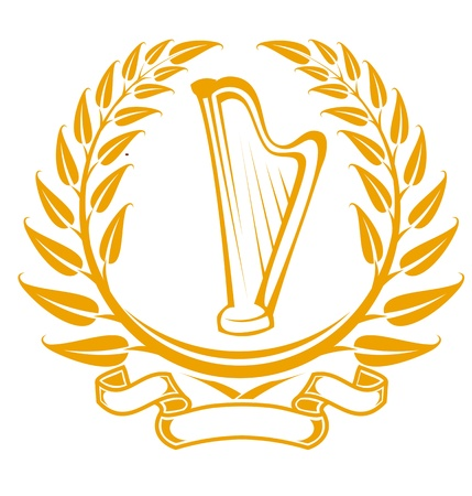 top round: Harp symbol in laurel wreath isolated on white