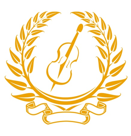 Violin symbol in laurel wreath isolated on white Vector