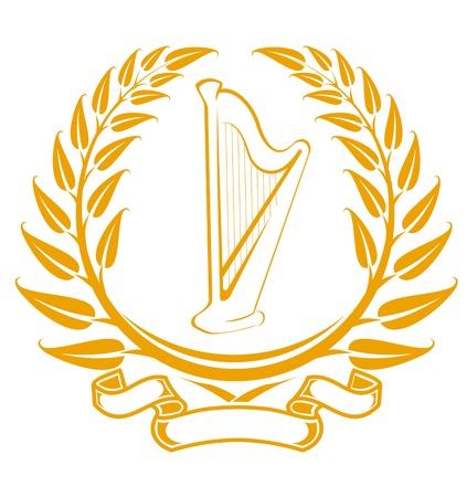 harfe: Harfe Symbol in Lorbeerkranz, isoliert auf weiss