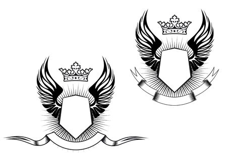 blazonry: Heraldry elements with wings and ribbons for design