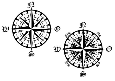 breadth: Vintage compass symbols isolated on white for design