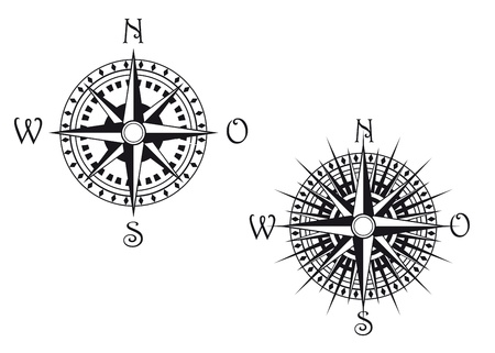 compass rose: Vintage compass symbols isolated on white for design