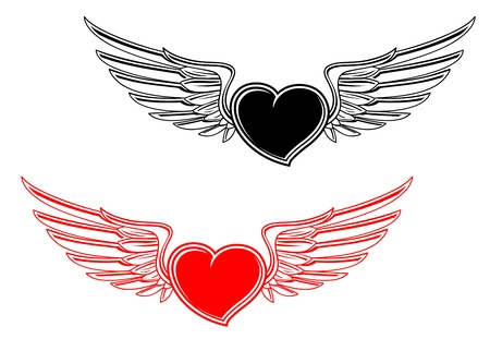 Retro heart with wings for tattoo design Vector