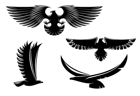 eagle feather: Heraldry eagle symbols and tattoo isolated on white Illustration