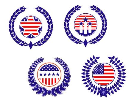 American patriotic symbols set for design and decorate Vector