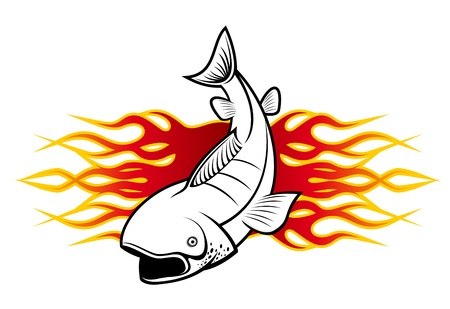 Fish with tribal flames for tattoo design Stock Vector - 9454058