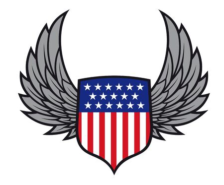 Shield with wings as a USA heraldic symbol for design Vector